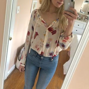 Lucky Brand Floral Blouse: NWT!